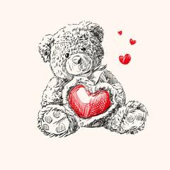teddy bear with  heart.