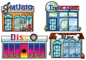 A musical store, travel agent office, disco house and a pet shop