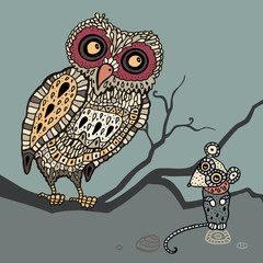 Decorative Owl and  Mouse. Cartoon illustration.