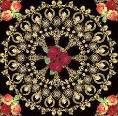 gold circle design with dark roses