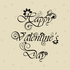 Floral decorated Happy Valentines Day text on elegant background