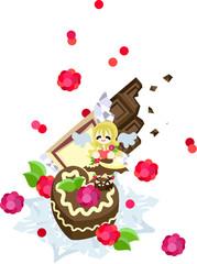 Keuken foto achterwand Magische wereld ラズベリーとホイップクリームたっぷりの甘くて美味しいチョコレートケーキ。バレンタインに現れるチョコレートの天使がお届けします。