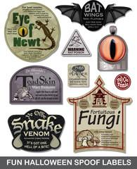 Fun Halloween Spoof Labels Set 4