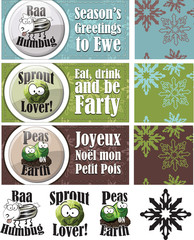 Set of 3 Fun Christmas Cards, repeat vector patterns and icons.