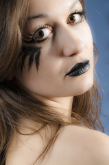 Portrait of a girl with black lips