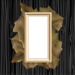 Empty painting frame, with autumn leaves