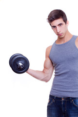 caucasian fitness man in grey t-shirt with barbell in hands