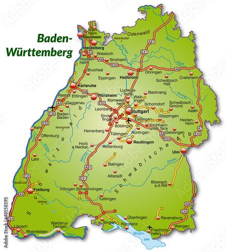 landkarte baden württemberg Landkarte von Baden Württemberg mit Autobahnnetz