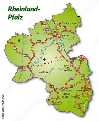 landkarte von rheinland pfalz deutschland karte. Black Bedroom Furniture Sets. Home Design Ideas