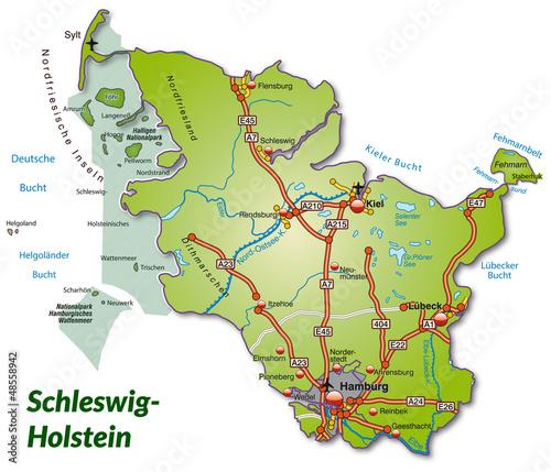 Schleswig Holstein Karte.Landkarte Von Schleswig Holstein Mit Autobahnnetz Stockfotos Und