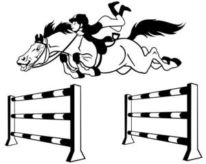 kid horse rider black white