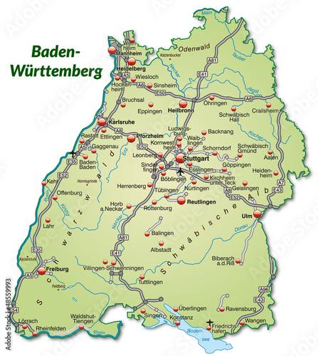"""""""Landkarte Von Baden-Württemberg Mit Verkehrsnetz"""