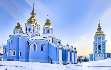 Printed roller blinds Kiev St Michael cathedral in Kiev in snow