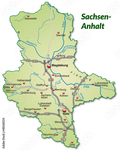 Karte Sachsen Anhalt.Landkarte Von Sachsen Anhalt Mit Verkehrsnetz Stockfotos Und