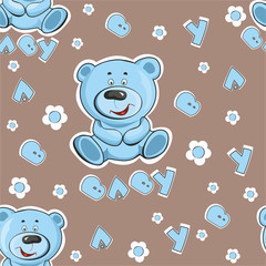 Pattern with a teddy bear on a blue background