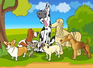 Poster Dogs purebred dogs group cartoon illustration