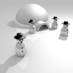 winter scene with snow man