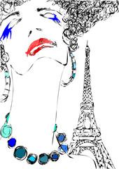 Foto op Canvas Illustratie Parijs memories of a trip to Paris