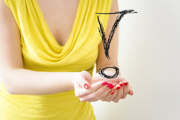 girl hands showing exclamation mark symbol