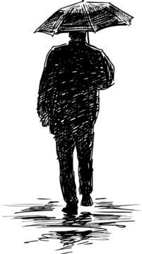 silhouette of a man under an umbrella