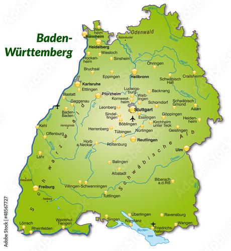 """""""Landkarte Von Baden-Württemberg"""" Stockfotos Und"""