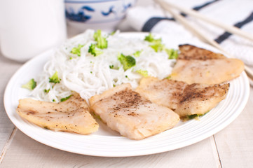 Steamed fish fillet pieces