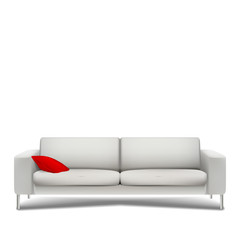 Sofa with red cushion