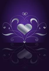 Edler Liebesgruß mit Herz und Ornament in Silber Violett