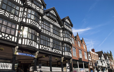 Buildings along the Chester Rows, Chester. Fotomurales