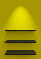Drei Regale an Wand mit Beleuchtung - Gelb Schwarz