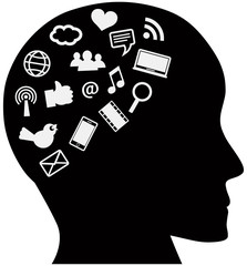 Human Head with Social Media Icons
