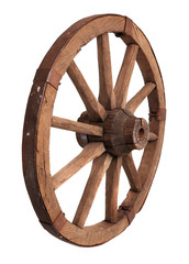 Old wooden wheel on the white background