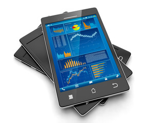 Mobile applications for your business. Group of mobile phone on