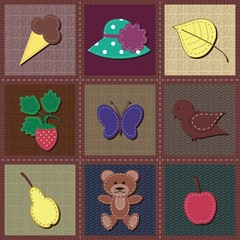 scrapbook objects on patchwork background