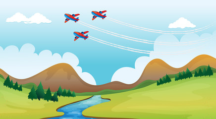 Papiers peints Avion, ballon Flying airplains and a beautiful landscape