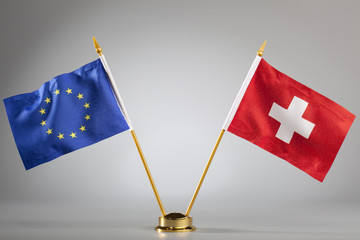 Flags of European Union and Switzerland