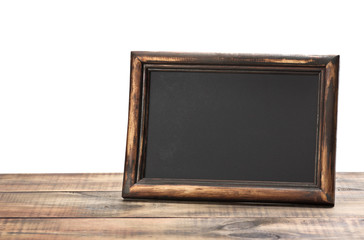 empty blackboard with wooden frame
