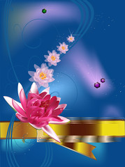 floral design with pink lotus flowers on blue