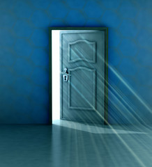 god salvation behind blue wall and opened door
