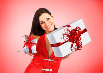 Beautiful girl with Christmas presents.