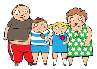 Fat overweight family