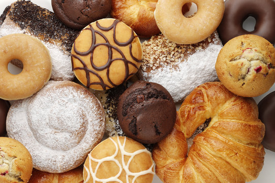 donuts,muffins and other assorted cakes