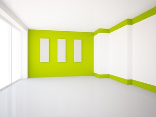 empty interior with green wall and gray pictures