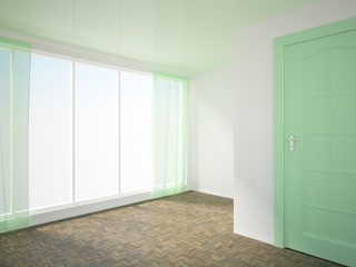 empty interior with green door and curtains