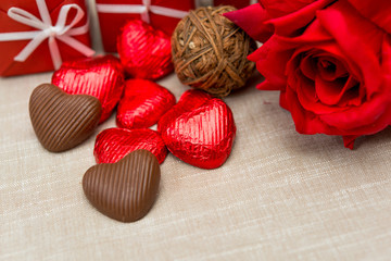 chocolate, gift box and flowers