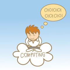 cartoon character of man sit on cloud computing
