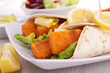 fajitas with fishsticks and salad