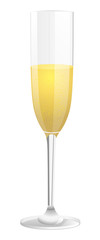 Glass of champagne. Isolated vector illustration