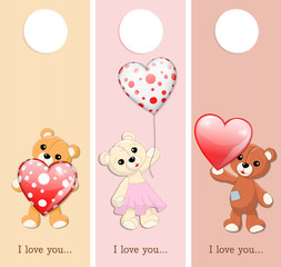 three valentine banners with teddy bears and glossy hearts