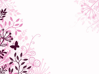 Vector pink and black floral background backdrop with hand drawn